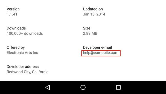 Google Play - Developer Email
