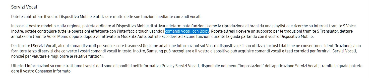 """Samsung Italy - Privacy Document Mentions """"Bixby"""""""