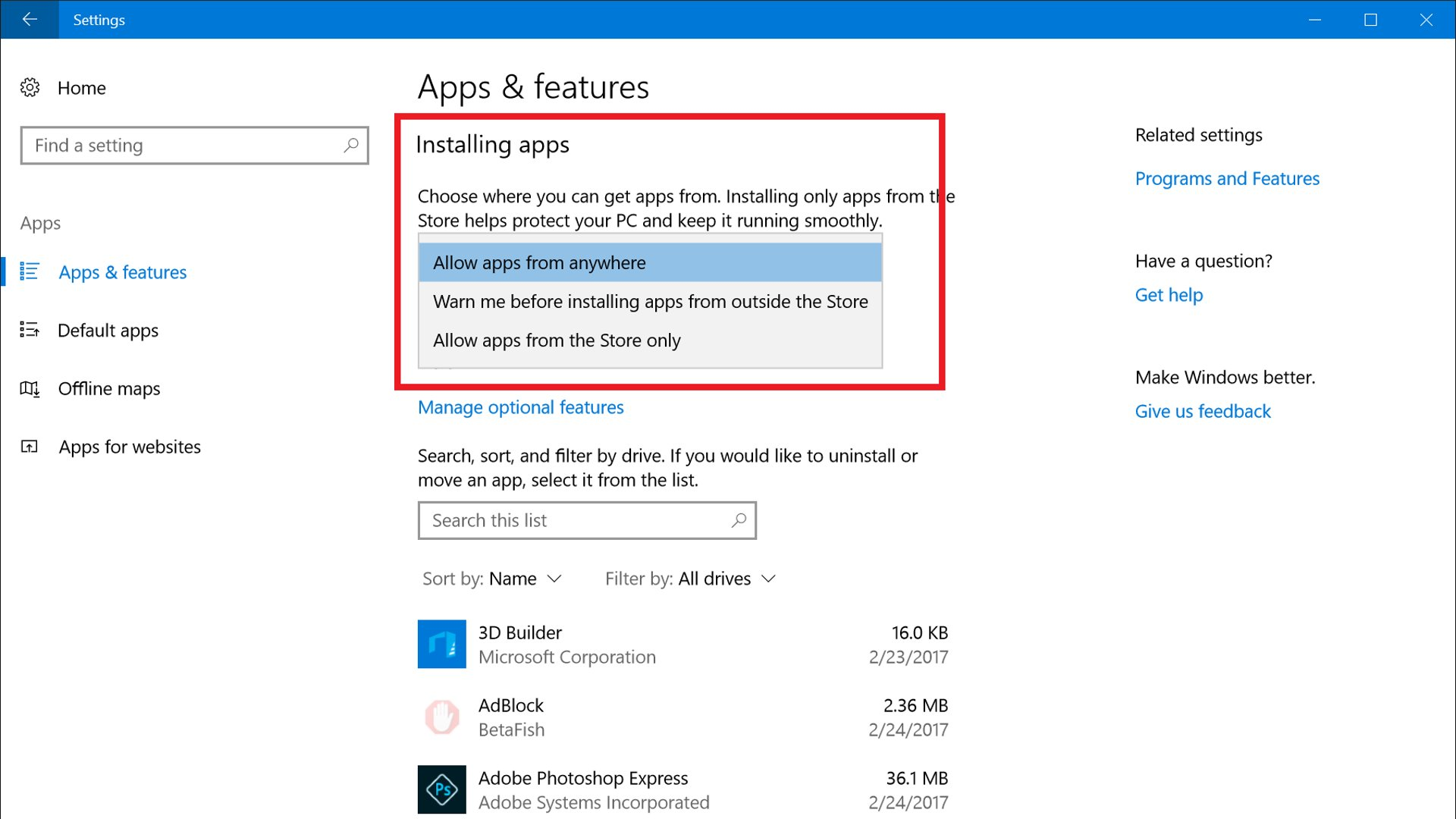 Windows 10 - Options For App Installation