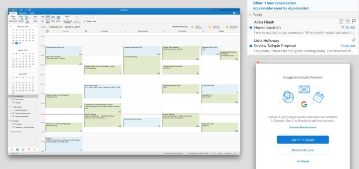 Outlook 2016 For Mac Gets Google Calendar and Contacts