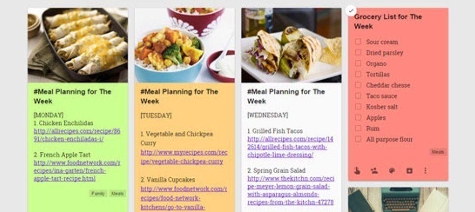 Google Keep - Meal Planning