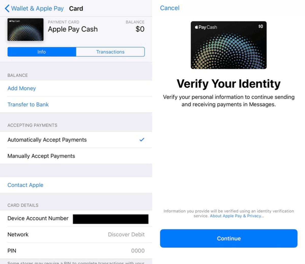 Apple Pay Cash - Settings
