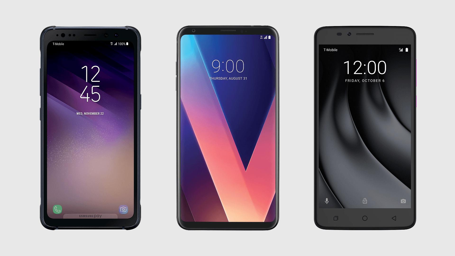 T-Mobile Samsung Galaxy S8 Active, LG V30+, Revvl Plus