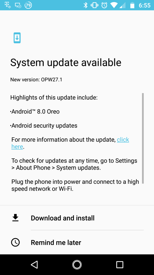 Android One Moto X4 Project Fi Android 8.0 Oreo Update