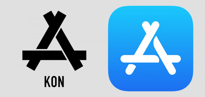 Chinese Clothing Brand KON & Apple App Store Logos