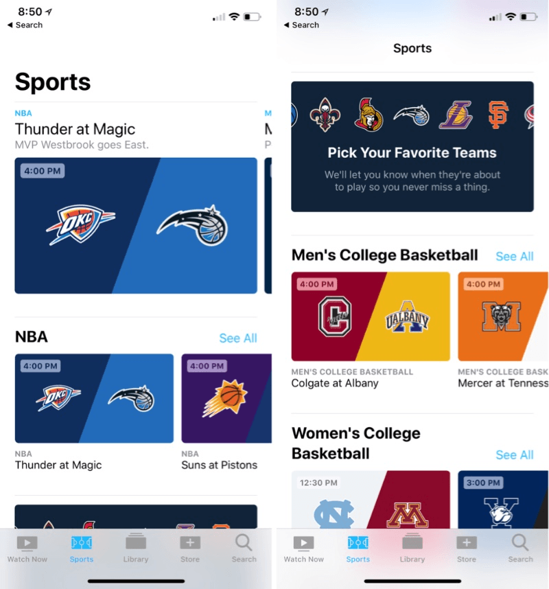 Apple iOS 11.2 - Sports Tab In TV App