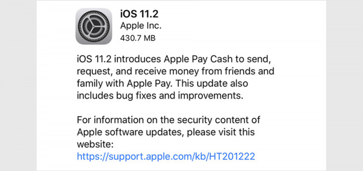 Apple iOS 11.2 Update