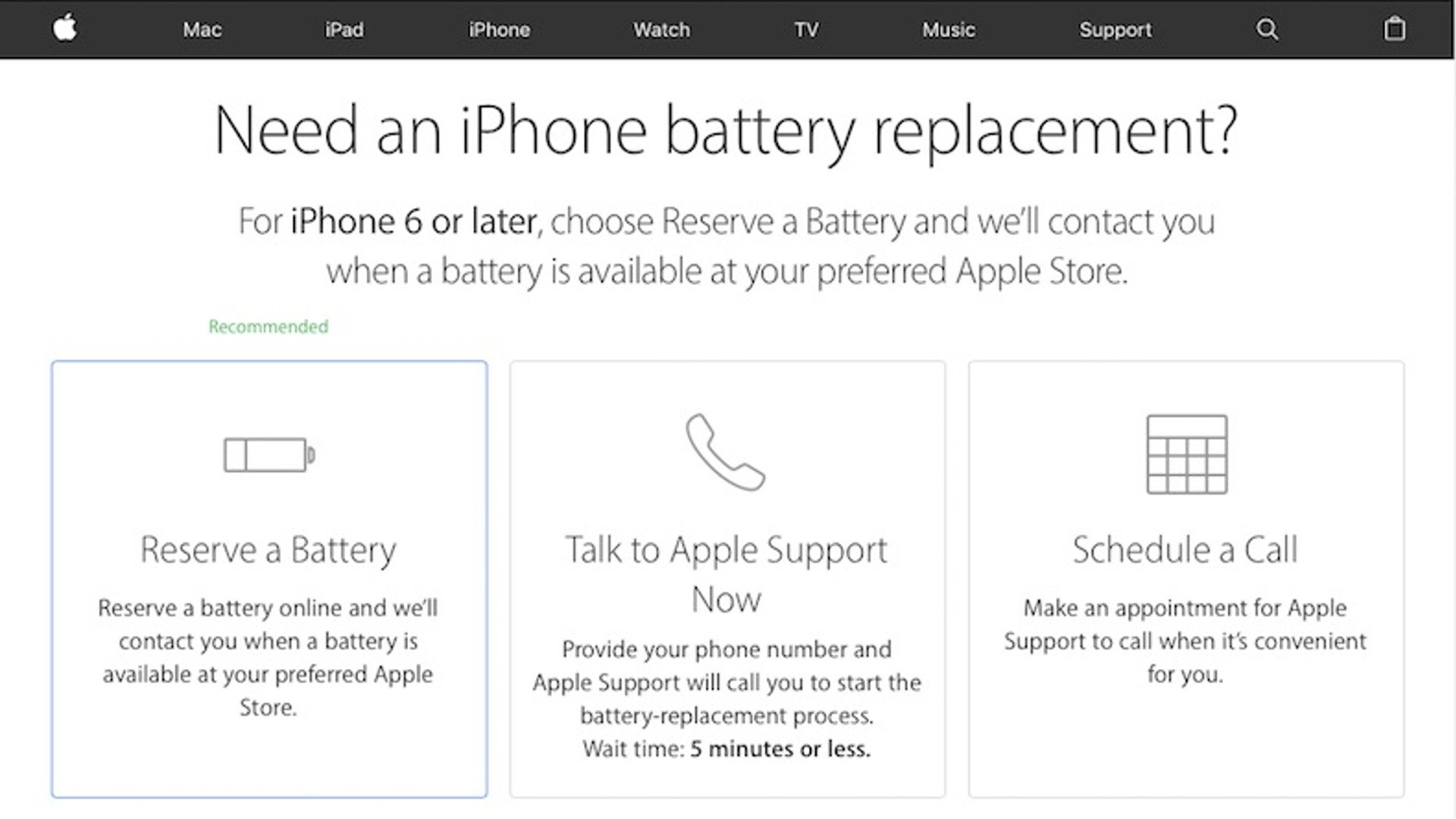"Apple ""Reserve a Battery"" Program for iPhone"
