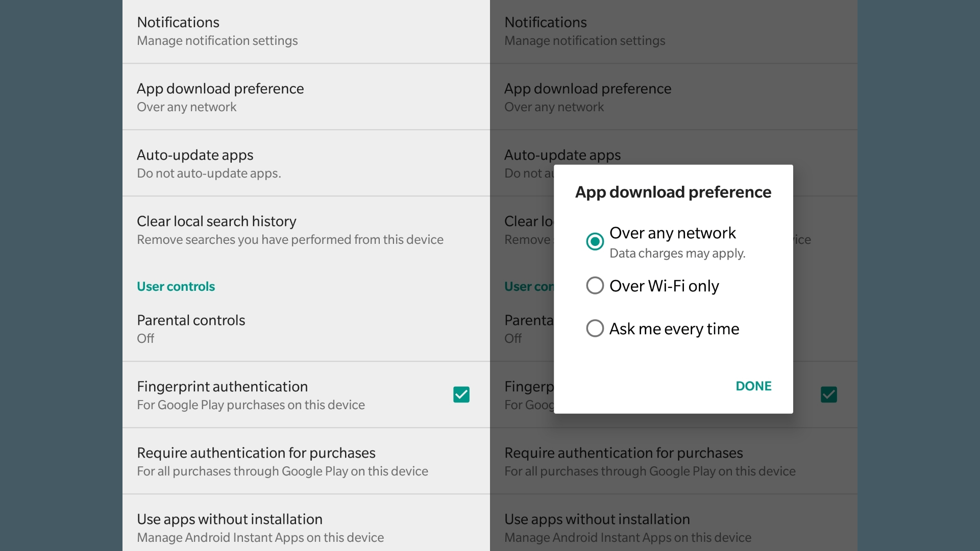 App Download Preference - Google Play Store
