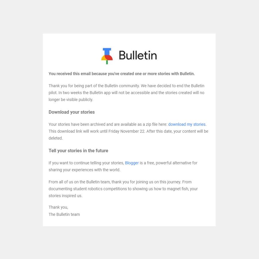 Google Bulletin - Shutdown Notice