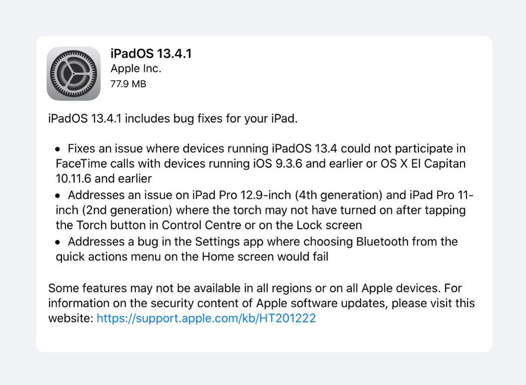 iPadOS 13.4.1 Update