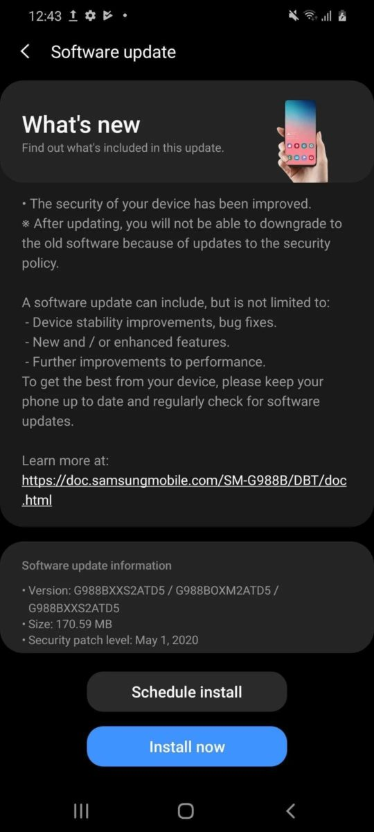 Samsung Galaxy S20 - May Security Update